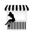 street stall with girl silhouette vector image vector image