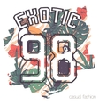 tropical print with slogan and number vector image