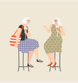 two old ladies drinking wine and chatting vector image