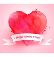 Valentine heart with ribbon banner vector image