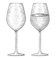 wine glass hand drawn sketch vector image vector image