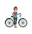 young business woman standing with bicycle and vector image vector image