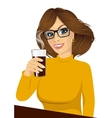 young girl holding drink glass vector image vector image