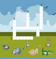 funny animals crossword for kids vector image