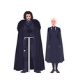 jon snow and daenerys targaryen dressed in black vector image