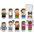 10 cute characters vector image