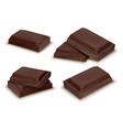 3d realistic dark chocolate bars pieces vector image vector image