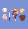baseball set character in special professional vector image