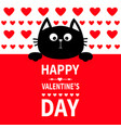 black cat hanging on board signboard cute cartoon vector image