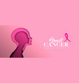 breast cancer awareness cutout woman face banner vector image vector image