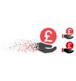 broken pixelated halftone british pound coin vector image