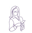 business woman use smart phone doodle female vector image vector image