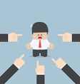 Businessman being pointed by a lot of hands vector image vector image