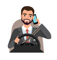 businessman driving a car talking on the phone vector image