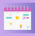 calendar or organizer business affairs and events vector image vector image