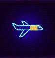 cargo plane neon sign vector image vector image