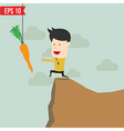 Cartoon Business man trying to reach a carrot vector image