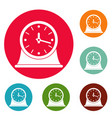 clock vintage icons circle set vector image