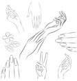 collection of hands in various gestures manicure vector image