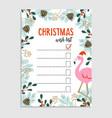 cute christmas card wish list flamingo vector image vector image