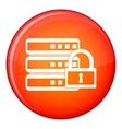 Database with padlock icon flat style vector image