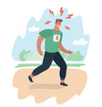 exhausted man jogging in the park does vector image vector image