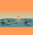 fishing village on the sea have a fishing boat sun vector image
