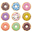 flat style icons of colorful donuts vector image vector image