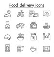 food delivery icons set in thin line style vector image vector image