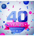 Forty years anniversary celebration on grey vector image vector image