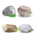 four boulder stones with green grass isolated on vector image