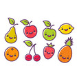 fruits in kawaii style vector image vector image