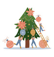 group of little people decorating christmas tree vector image vector image