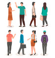 guy with backpack businesswoman woman vector image vector image