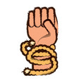 hand with rope vector image