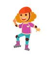 happy children girl skating on roller skates vector image