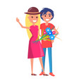 happy smiling couple with bouquet of flowers vector image vector image
