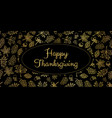 happy thanksgiving gold foil text leaves vector image vector image