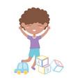 kids zone cute little boy alphabet blocks and car vector image vector image