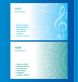 light blue and green business cards with music vector image vector image