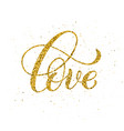love hand written lettering golden inspirational vector image