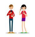 man and woman stand drink coffee and talking on vector image