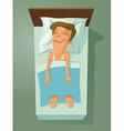 man asleep in bed vector image