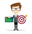 Man holding a credit card and target vector image