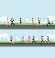 marathon runner men and women on the street vector image