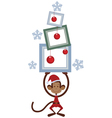 Merry Christmas monkey vector image vector image