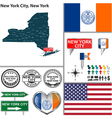 new york city york set vector image vector image