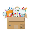 office accessories in cardboard box vector image vector image