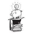 piggy bank with graduation hat money and stack vector image vector image