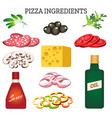 pizza ingredients set vector image vector image